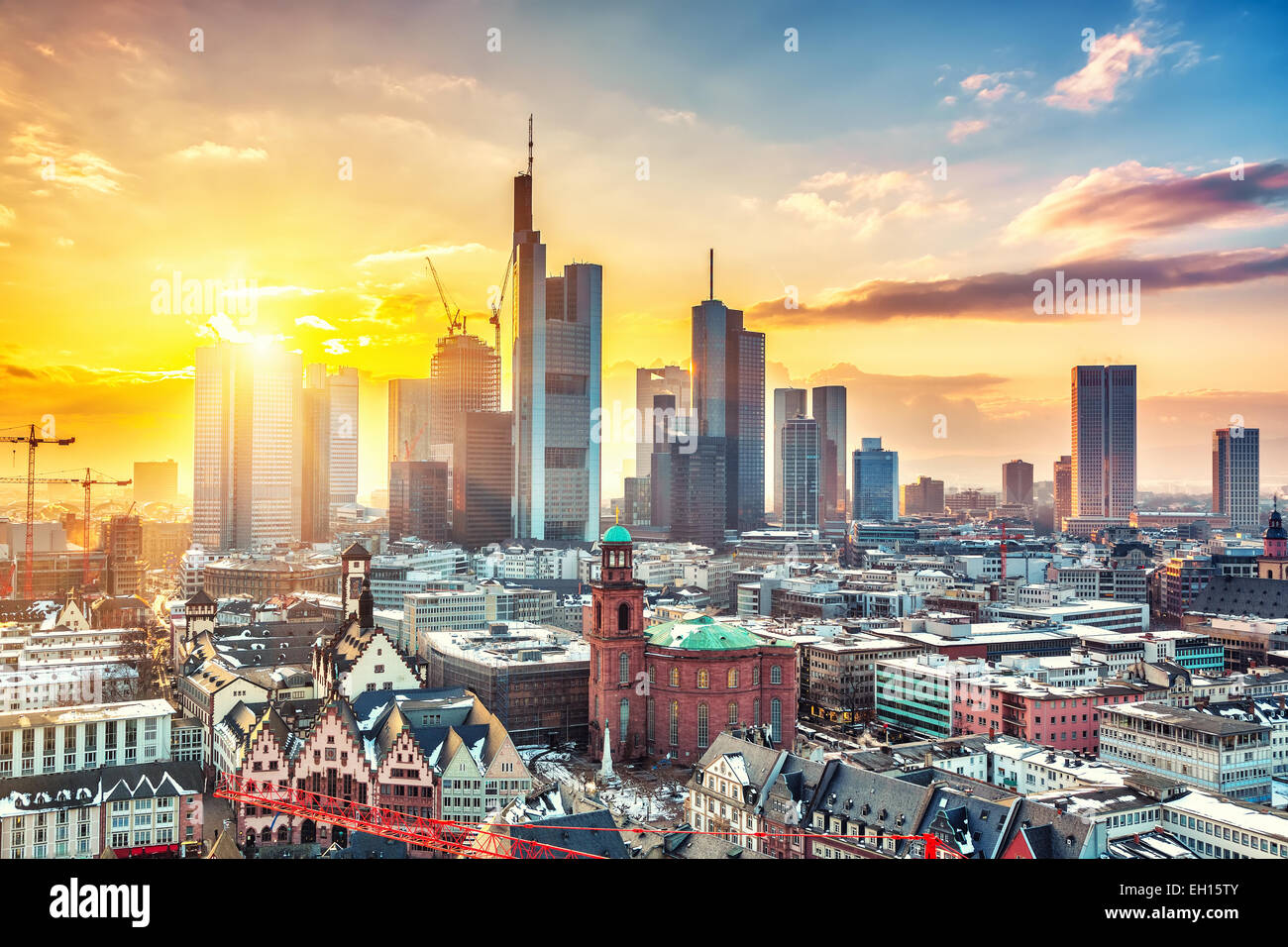 Frankfurt at sunset - Stock Image