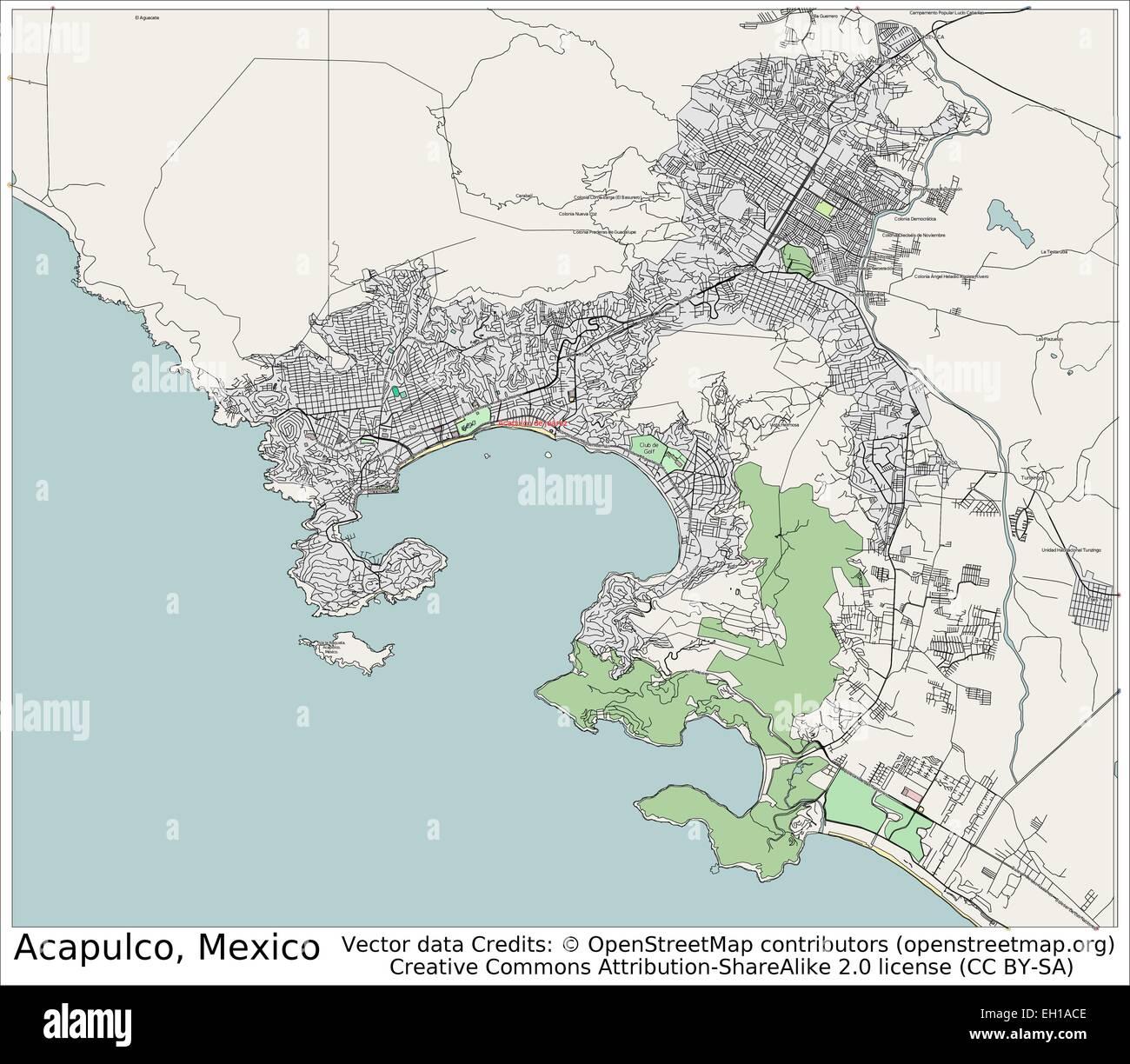 Acapulco Mexico city map Stock Vector Art Illustration Vector