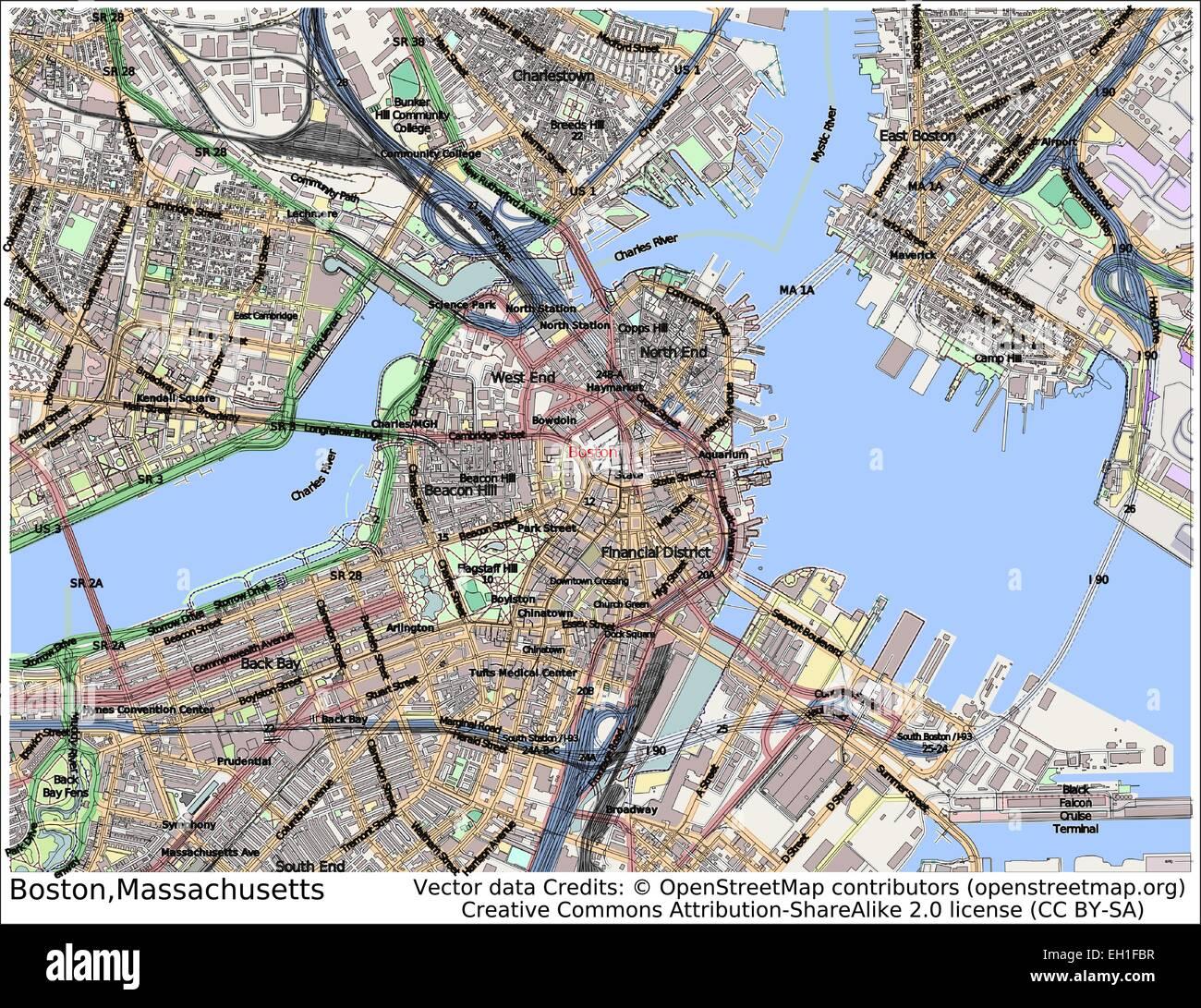 Boston Massachusetts USA city map Stock Vector Art & Illustration ...