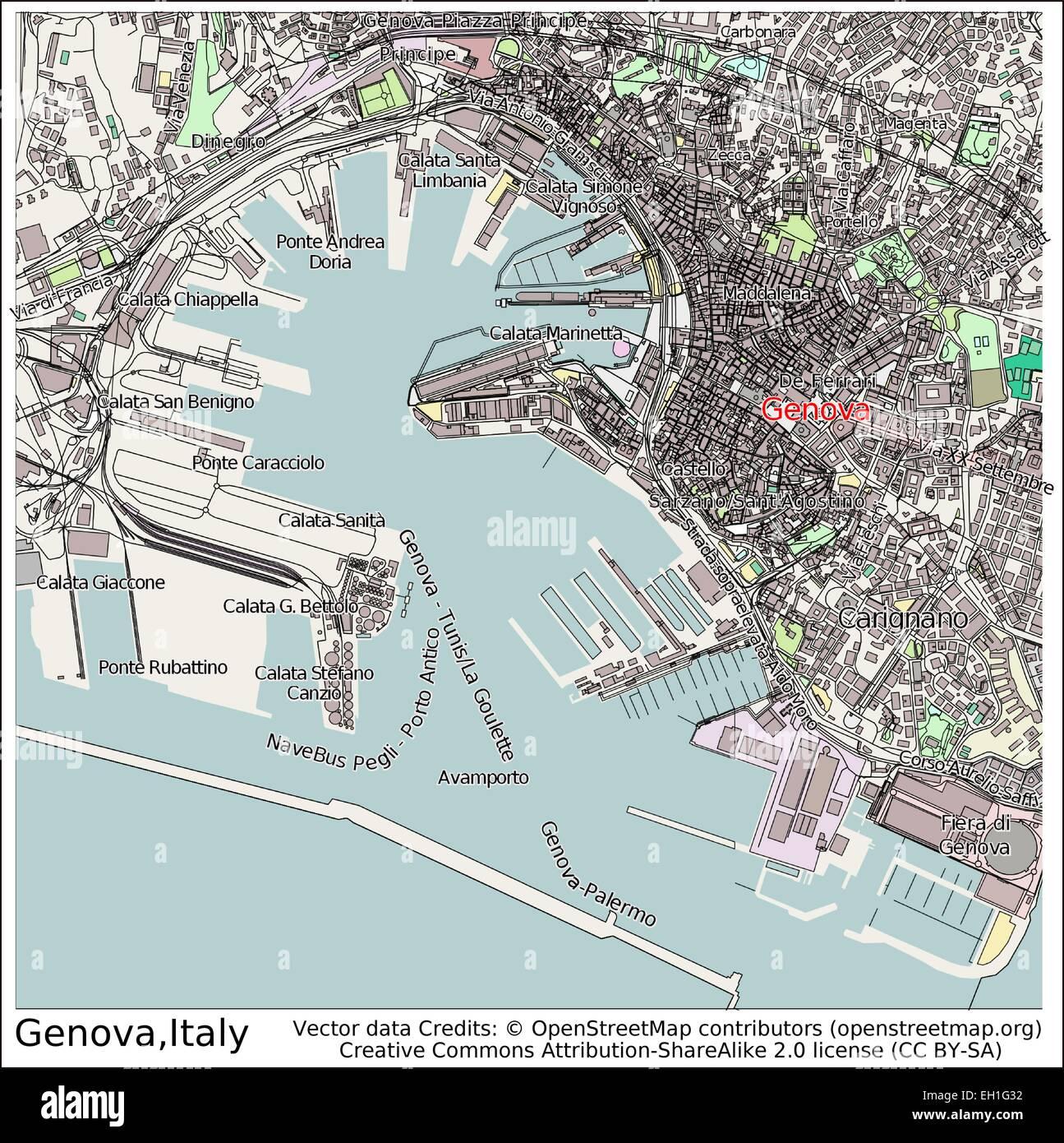 Genoa Italy city map Stock Vector Art Illustration Vector Image