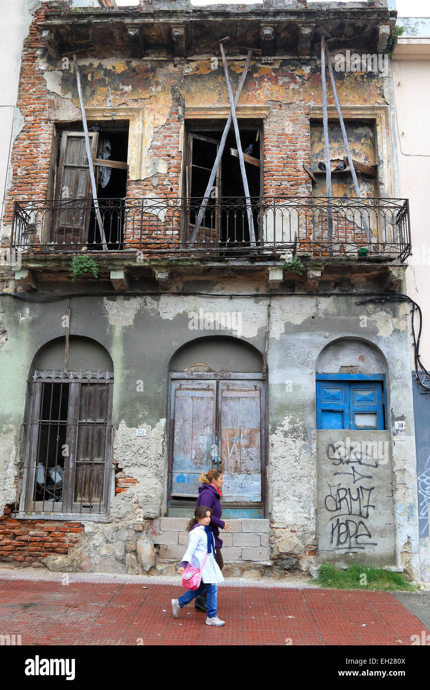 Montevideo old abandoned derelict building in Old Town, Uruguay. - Stock Image