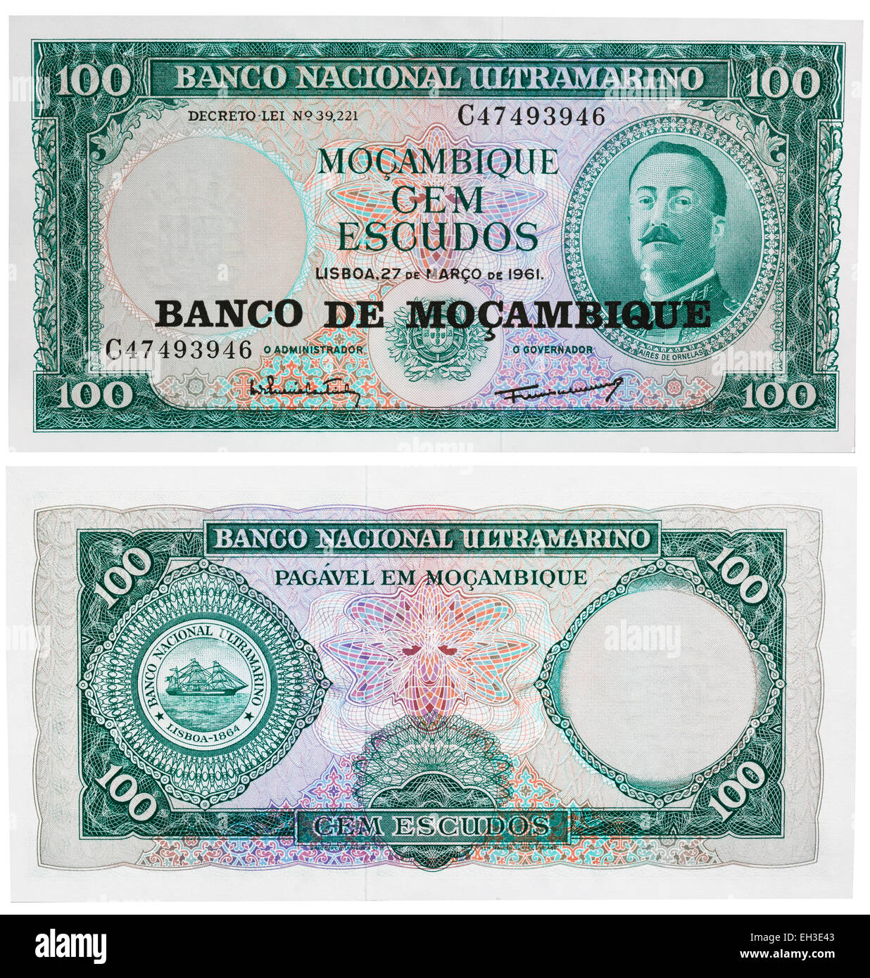 100 escudos banknote, Aires de Ornelas, Mozambique, 1961 - Stock Image