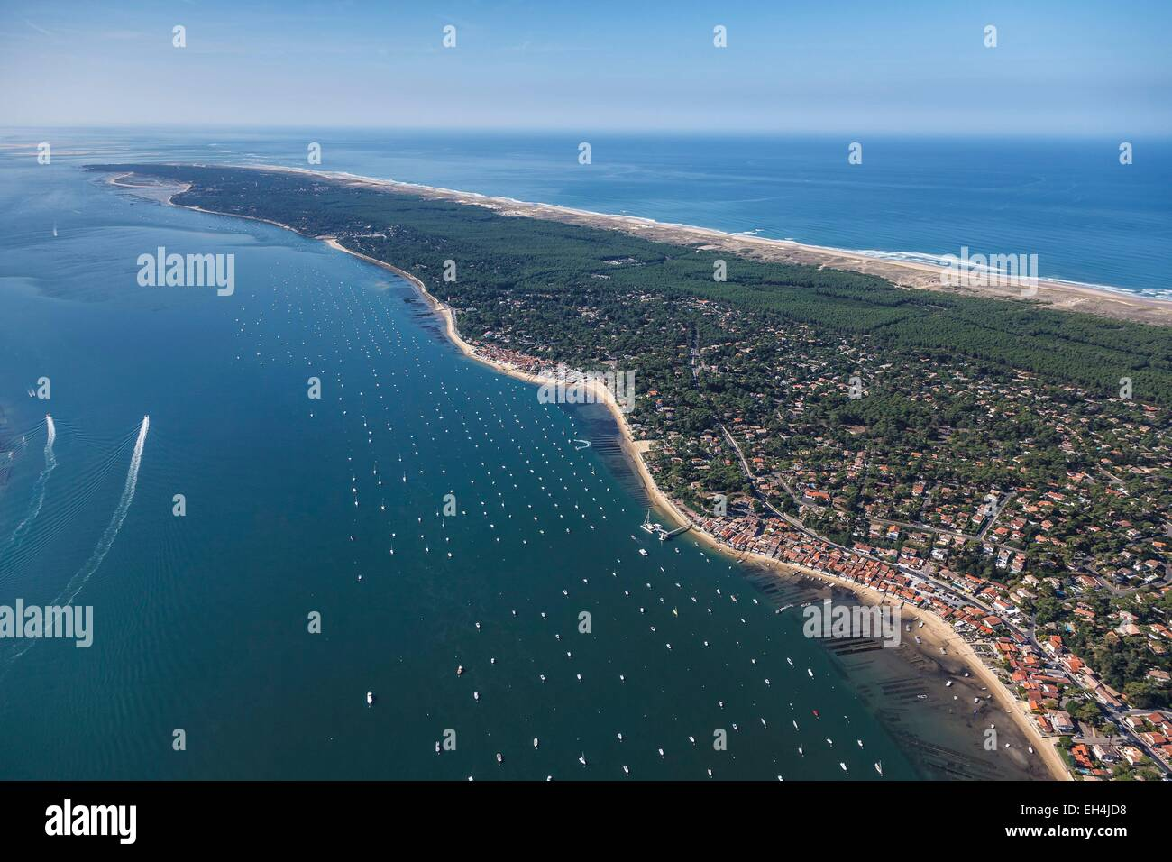 France, Gironde, Lege Cap Ferret, le Canon, the seaside resort on the Bassin d'Arcachon and the Cap Ferret (aerial Stock Photo