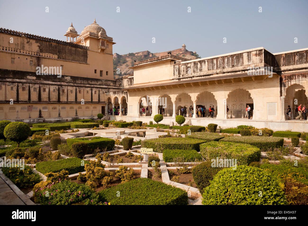 Amber Fort gardens, Jaipur, Rajasthan, India, Asia Stock Photo ...