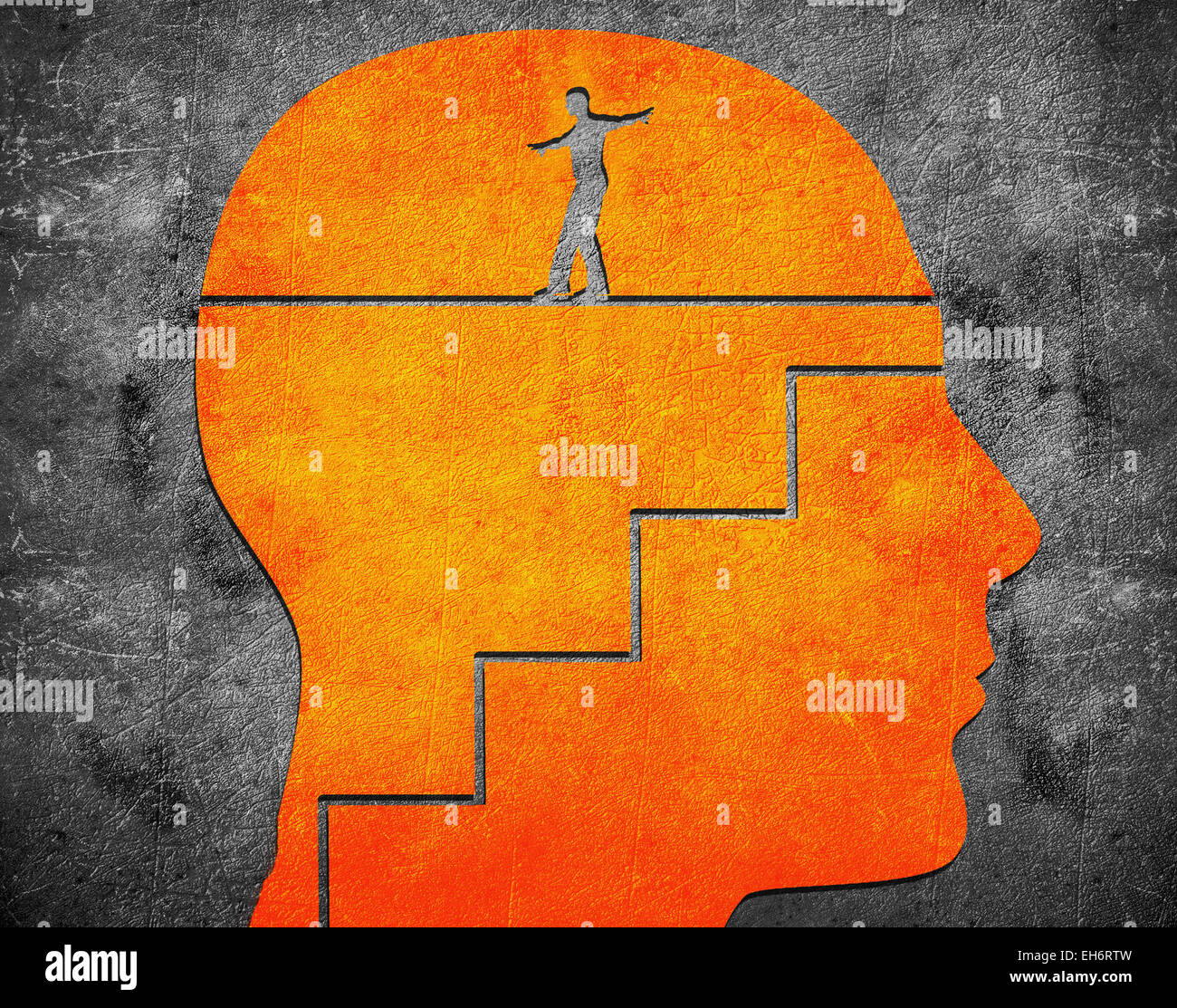 head with staircase and tightrope walker digital illustration - Stock Image