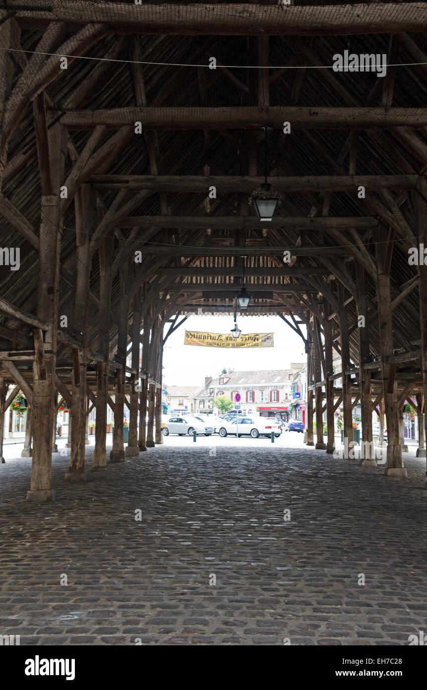 The Interior Of La Halle, A Medieval Market Hall Built In 1479.  Milly La Forêt, Essonne, France