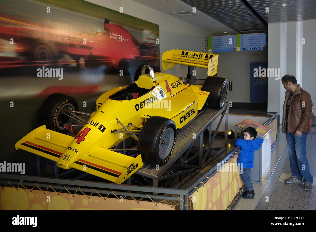 Race car exhibition in Liberty Science Center New Jersey USA Stock Photo