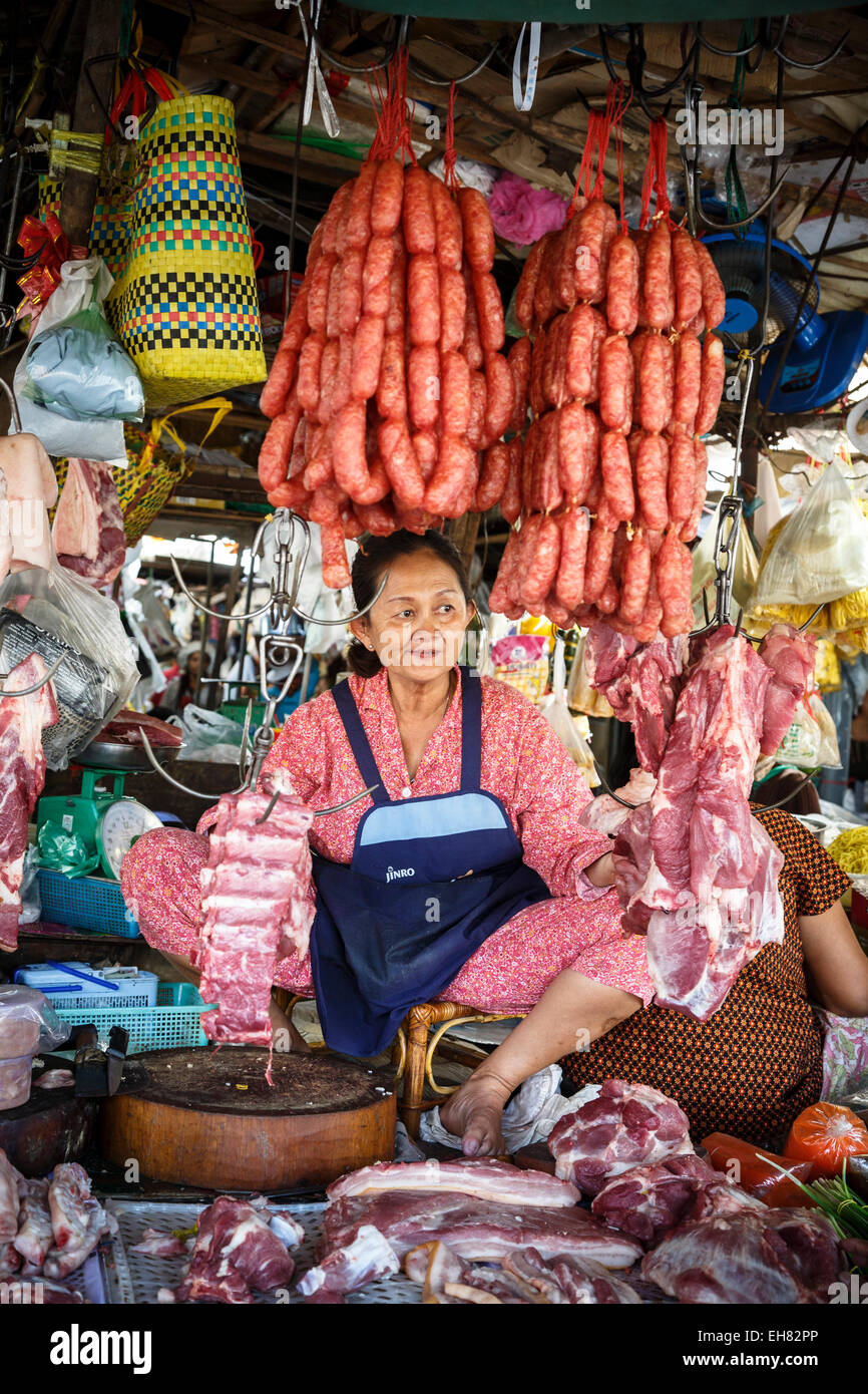 People at the food market, Siem Reap, Cambodia, Indochina, Southeast Asia, Asia - Stock Image