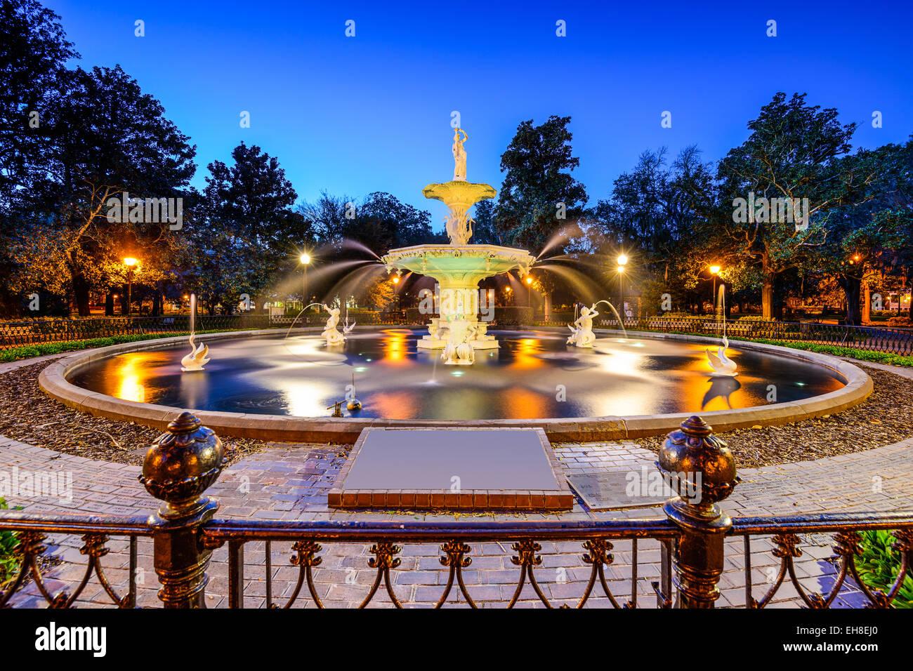 Savannah, Georgia, USA at Forsyth Park. - Stock Image