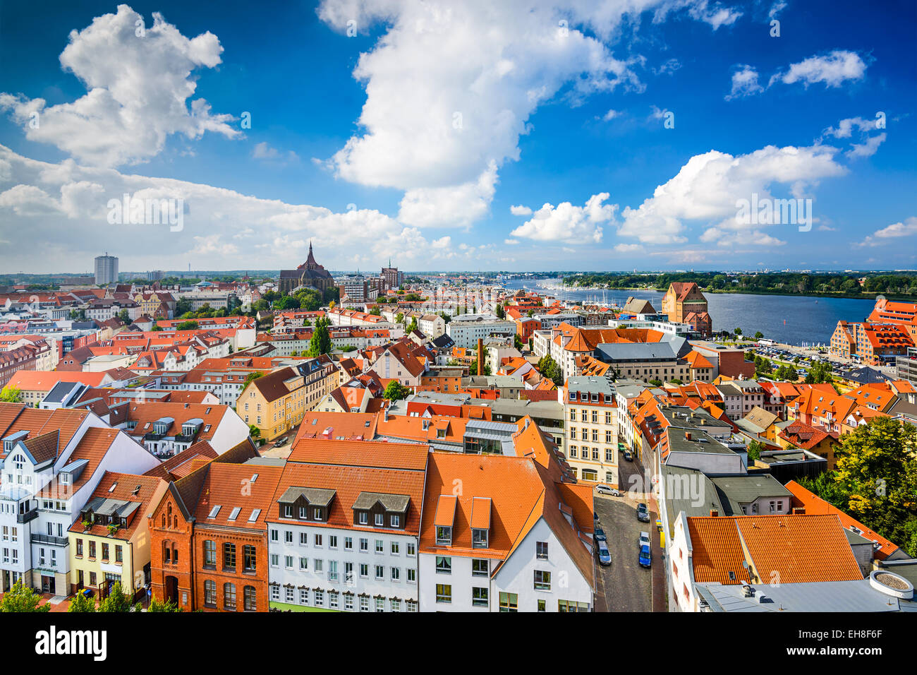 Rostock, Germany old city skyline. - Stock Image