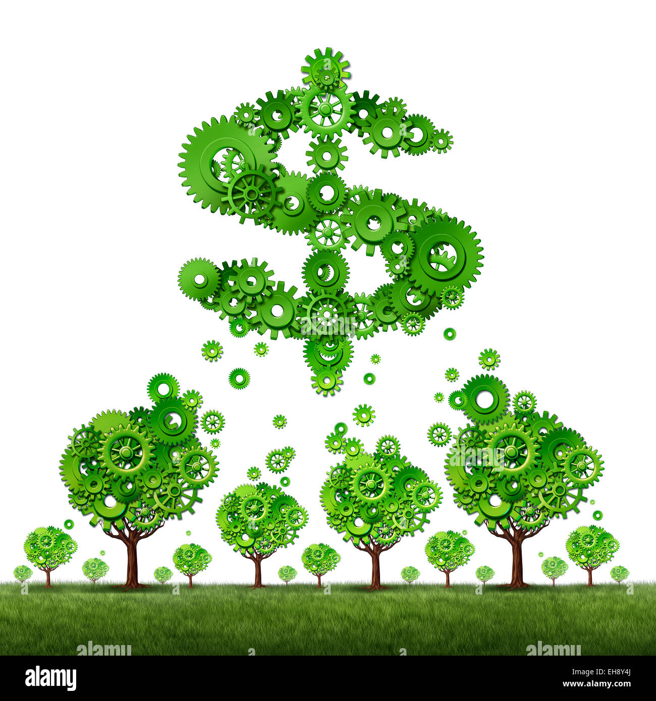 crowdfunding investing and collective income concept as a group of green trees made of gears contributing to a dollar - Stock Image