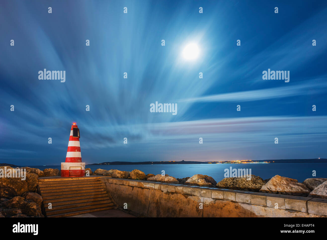 Mediterranean Europe, Malta, Gozo Island, port town of Mgarr, lighthouse - Stock Image