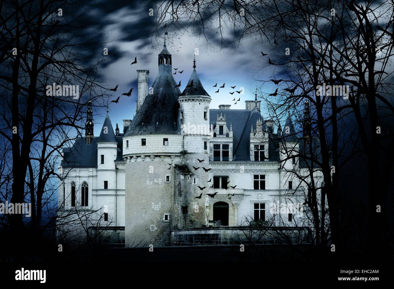 Haunted castle with dark scary horror atmosphere - Stock Image