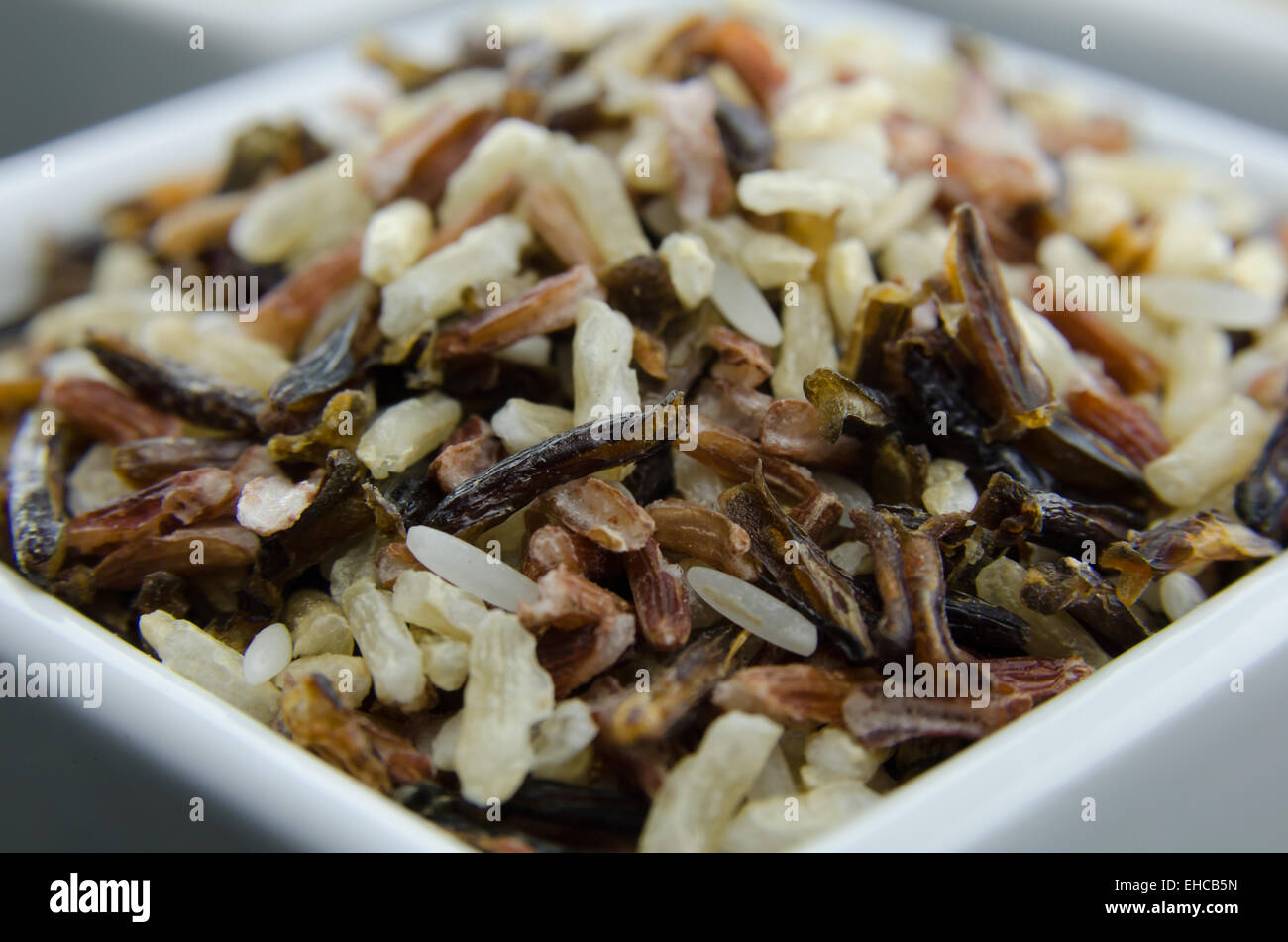 A close up of wild rice grains in a white ceramic bowl - Stock Image