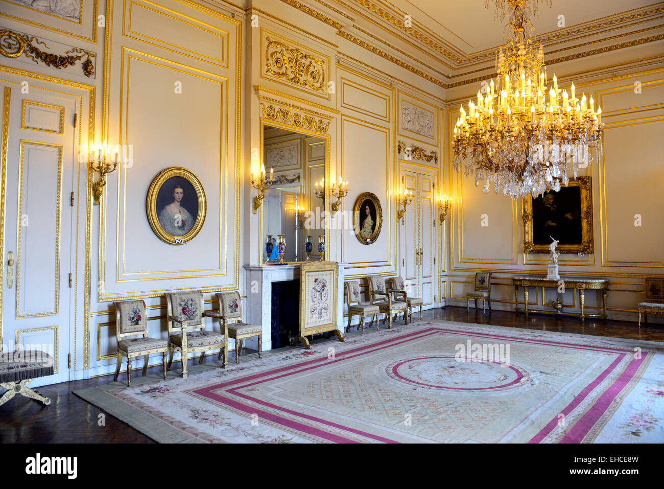 The Beautiful Interior Halls And Rooms Of The Royal Palace In Brussels.