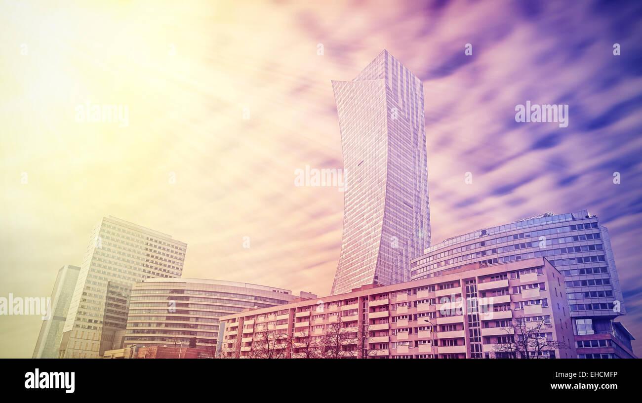Urban landscape in vivid colors, Warsaw skyline, Poland. - Stock Image