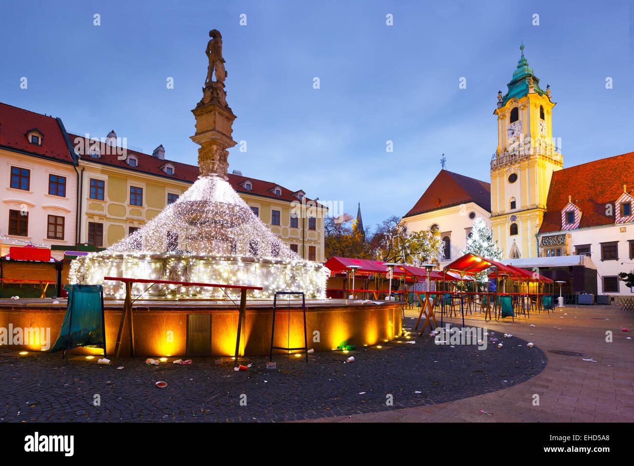 View of the main square in Bratislava, Slovakia. - Stock Image