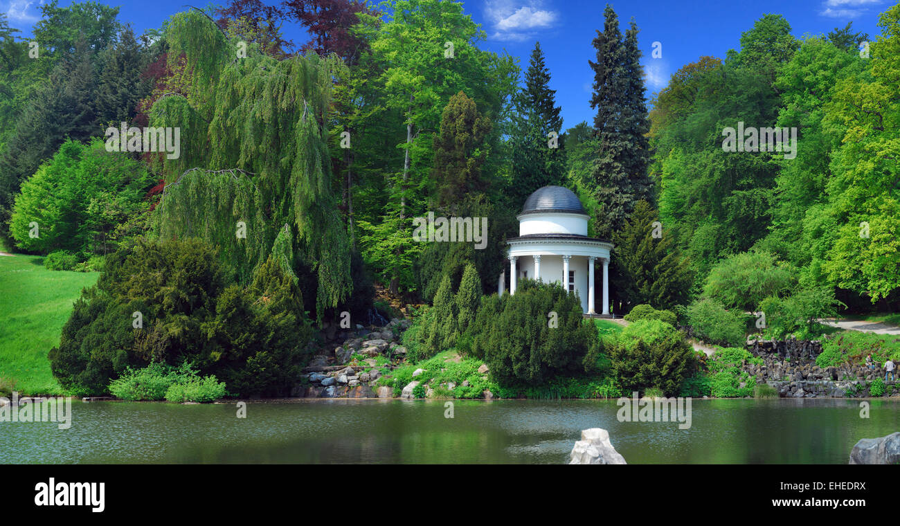 Pavilion in the mountain park in Kassel Stock Photo