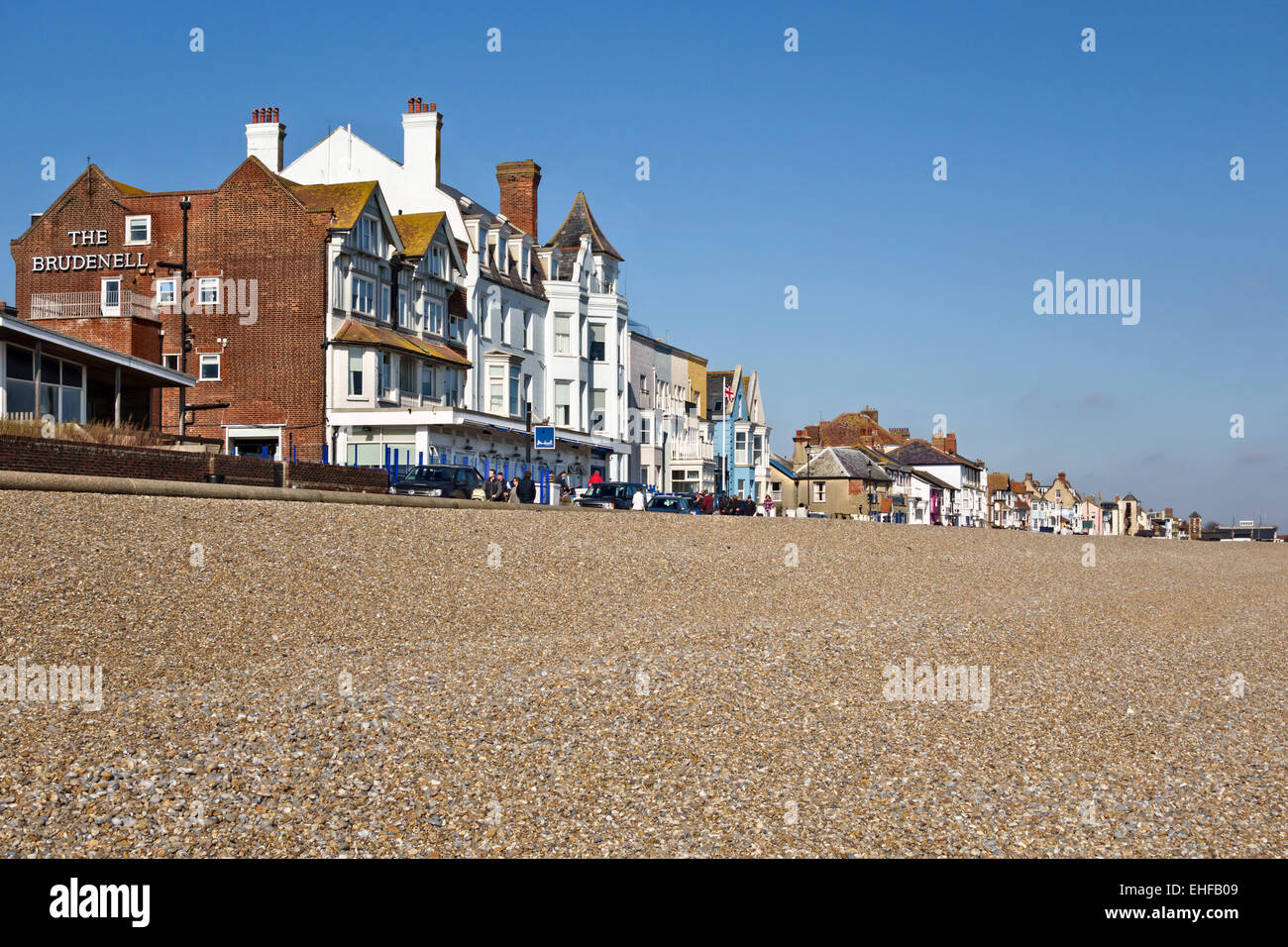 Aldeburgh, Suffolk, UK. Houses along the sea front, with The Brudenell Hotel in the foreground Stock Photo
