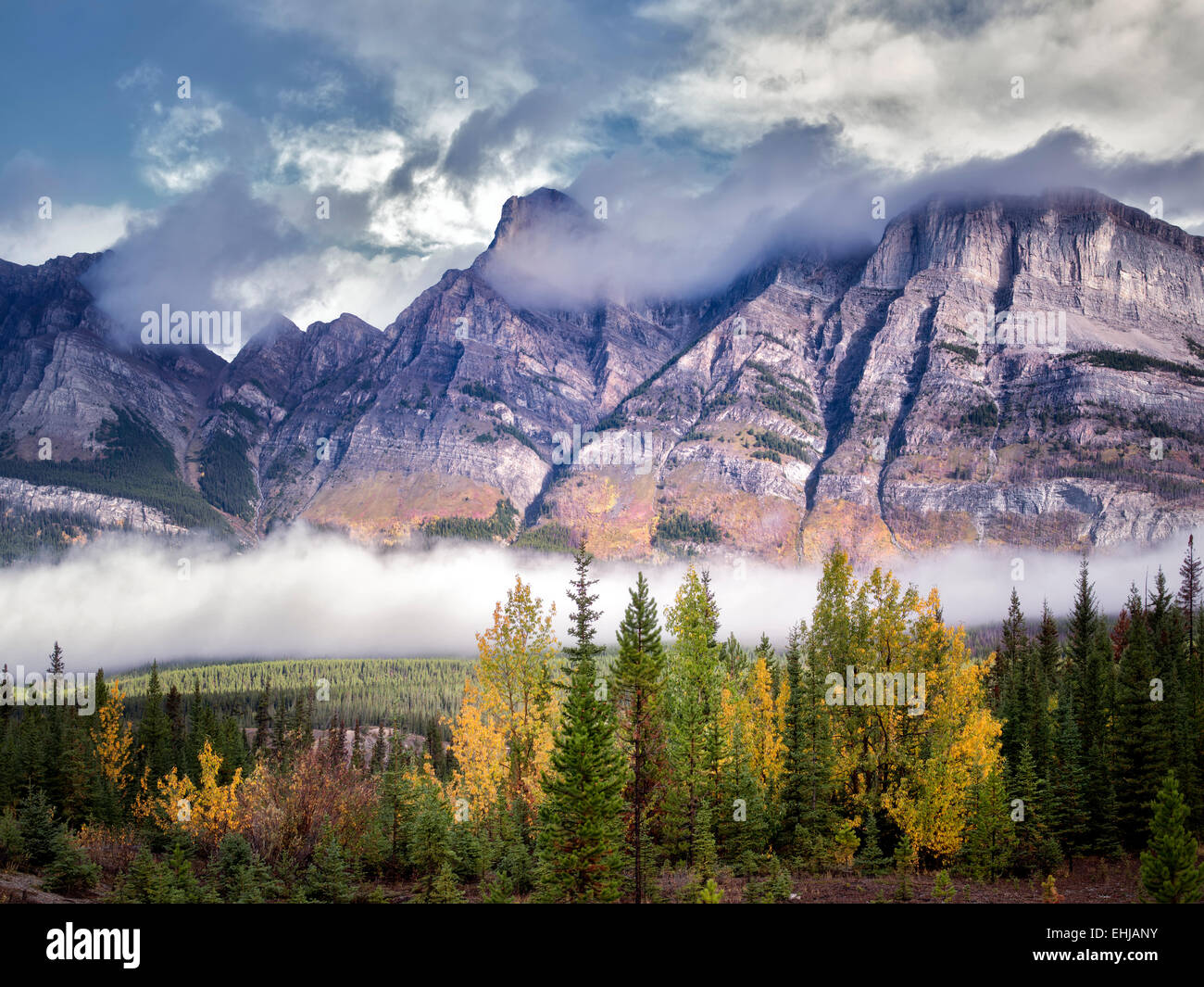 Fog and low clouds with autumn colors. Banff National Park. Alberta, Canada - Stock Image