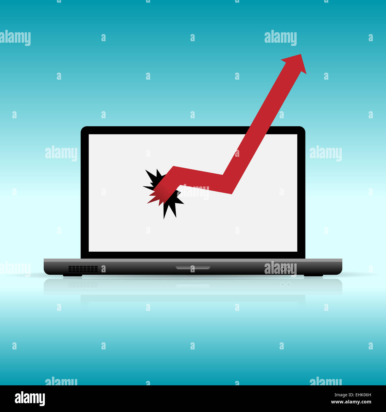 Vector illustration of graphic breaking laptop. - Stock Image