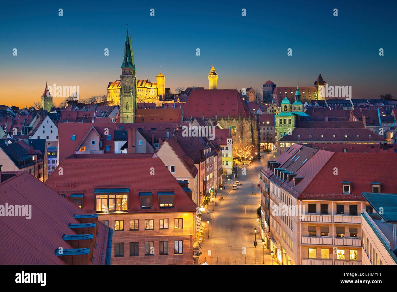 Nuremberg.  Image of historic downtown of Nuremberg, Germany at sunset. - Stock Image