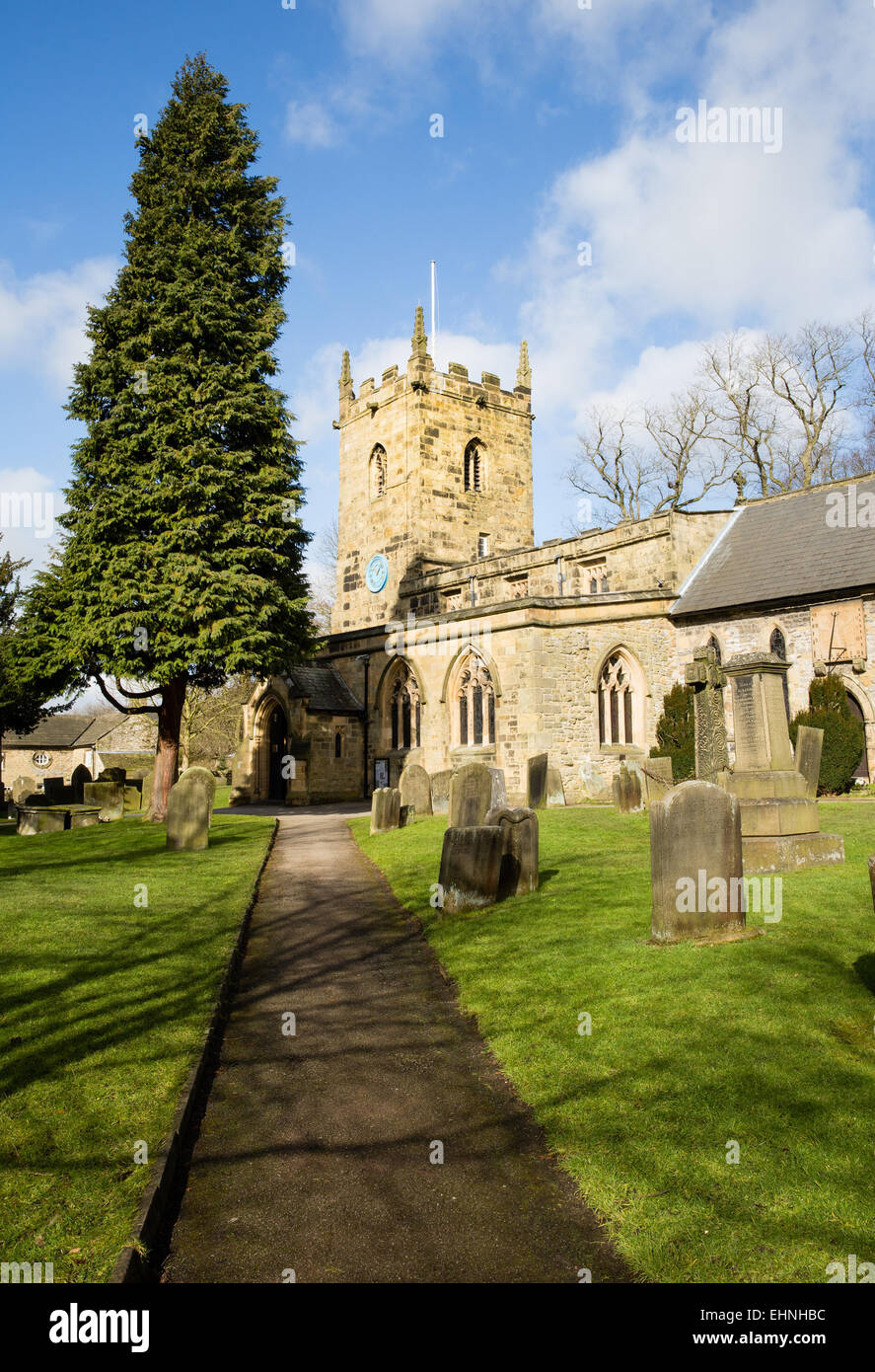 Parish church of St Lawrence at Eyam in the Derbyshire Peak District - Stock Image