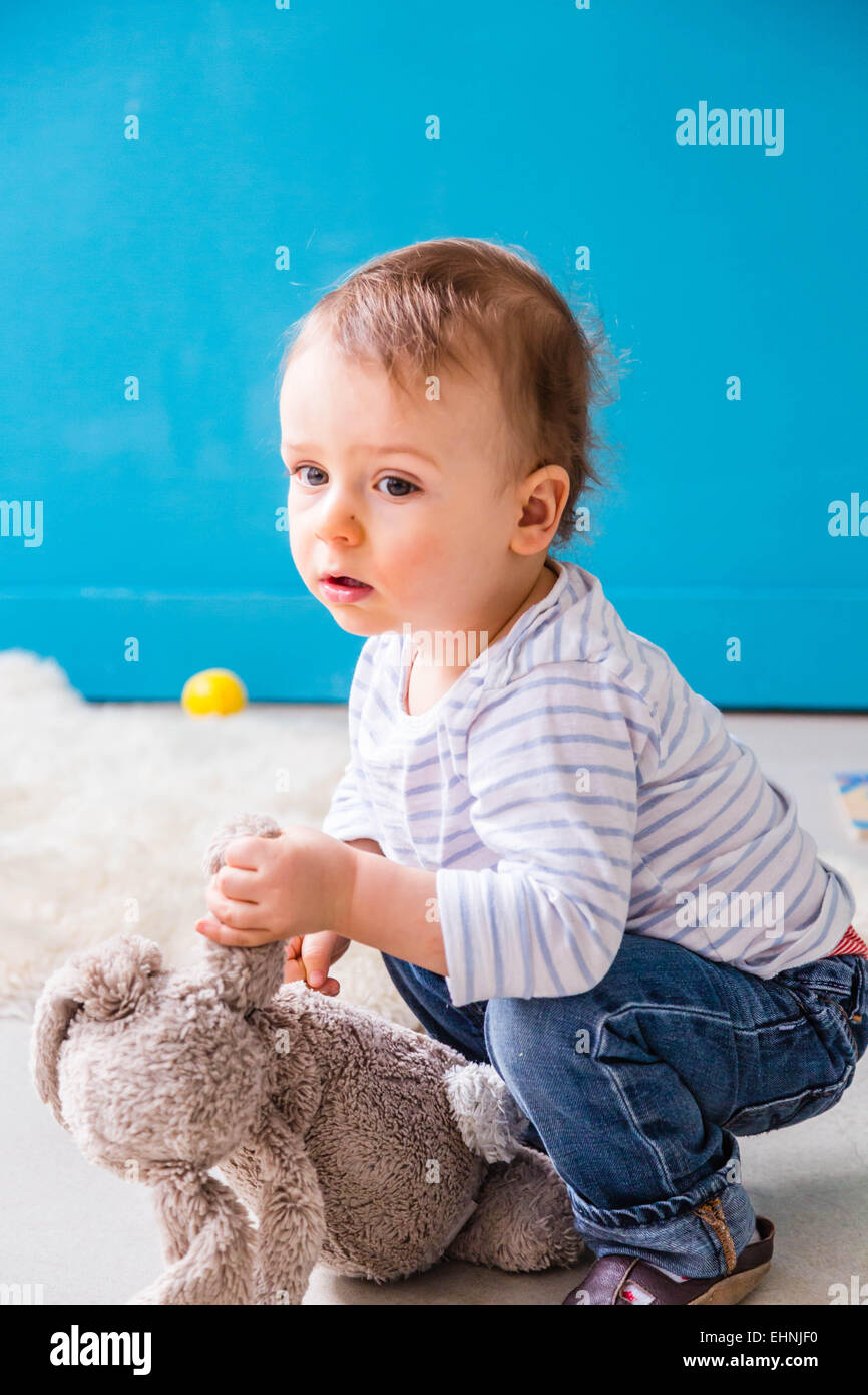 18 month-old baby boy. - Stock Image
