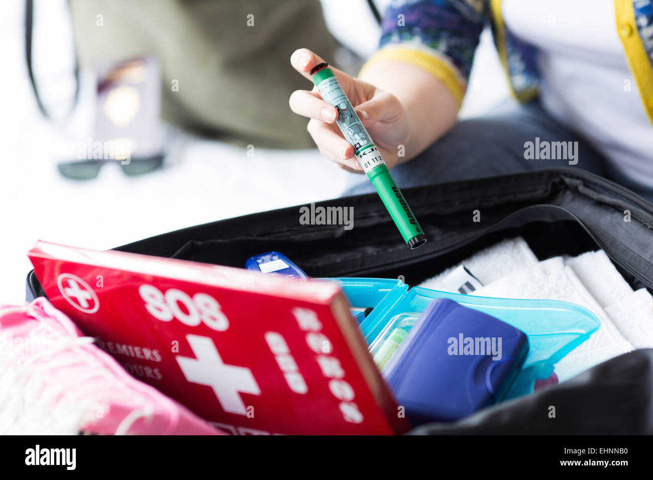 Anapen ®, epinephrine autoinjector, an emergency treatment in case of anaphylactic or anaphylactoid shock (allergies - Stock Image