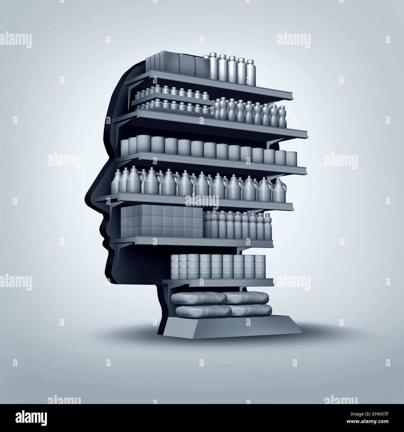 Consumer and customer concept as a store shelving unit shaped as a human head with generic products for sale as - Stock Image