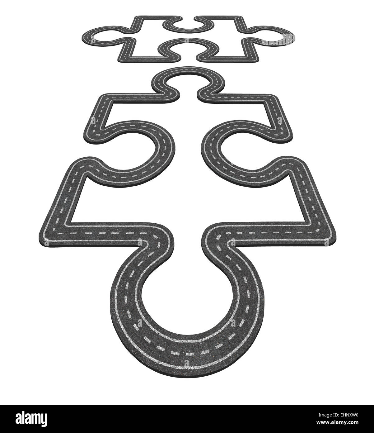 Road connection concept as two puzzle pieces merging together as a network transportation symbol and business icon - Stock Image