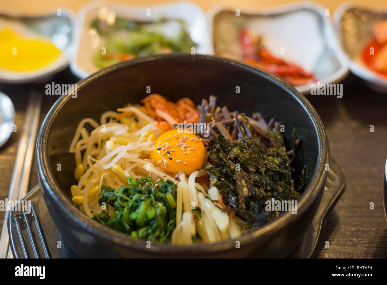 Asia, Republic of Korea, South Korea, Seoul, bibimpab restaurant - Stock Image