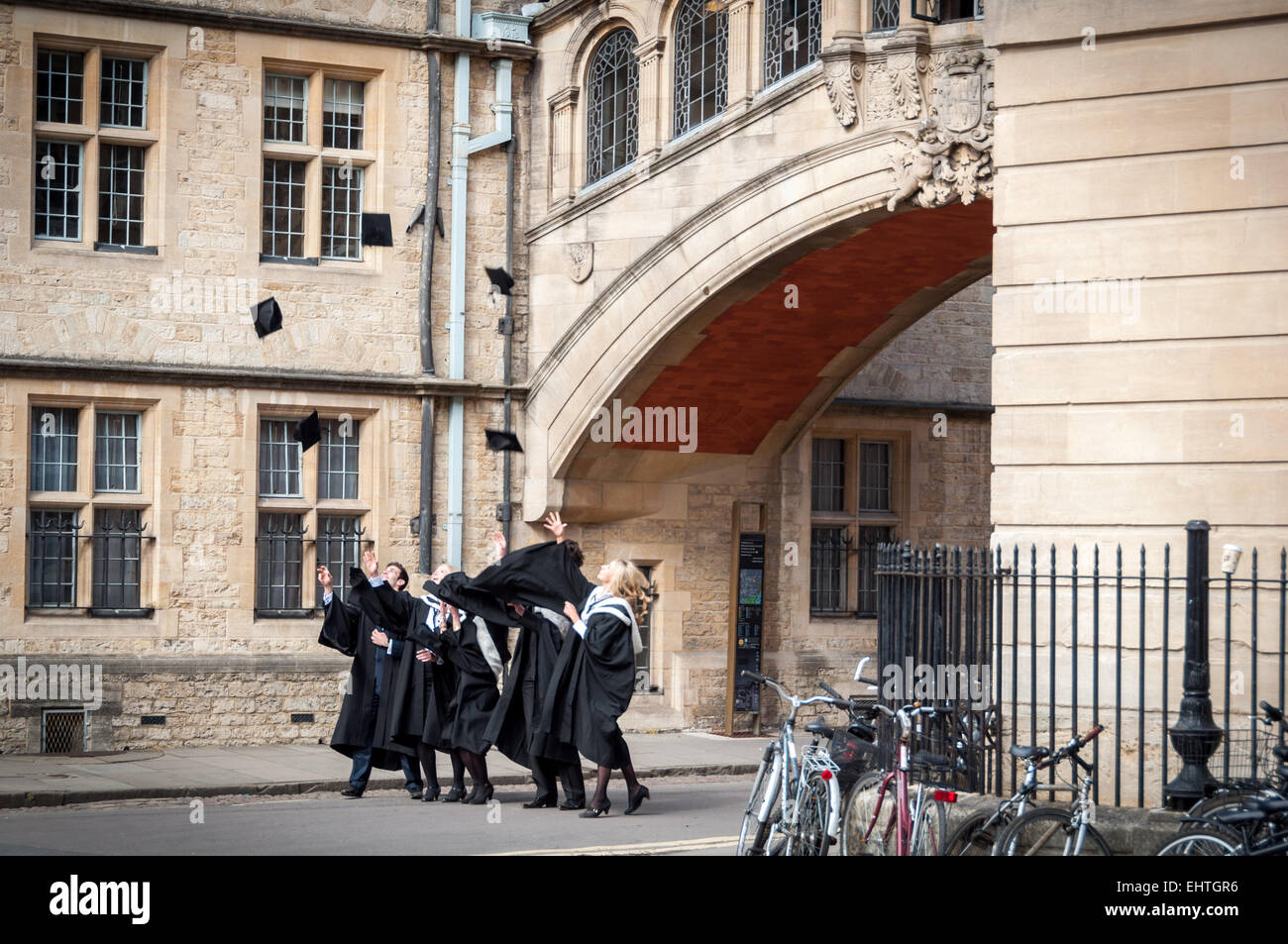 Oxford University students celebrate the end of academic year, Oxford, England Stock Photo
