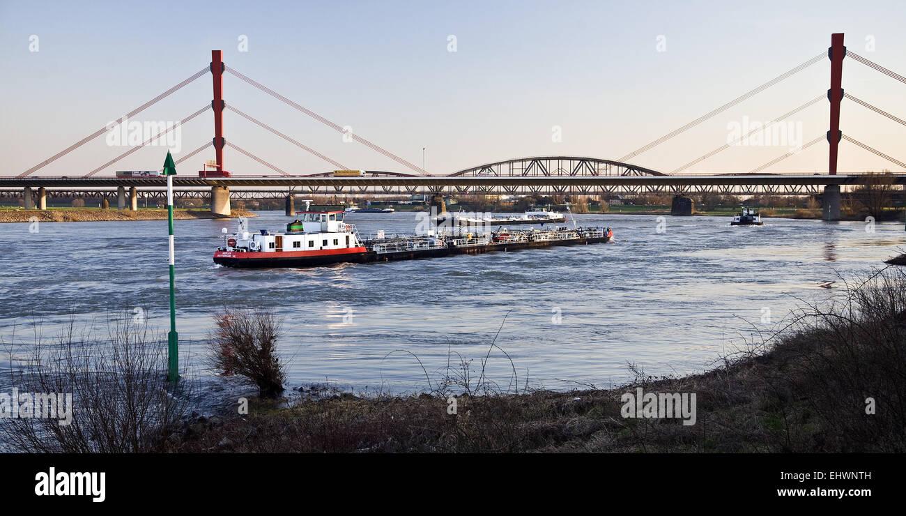 Cargo ships, Rhine, Duisburg, Germany. - Stock Image