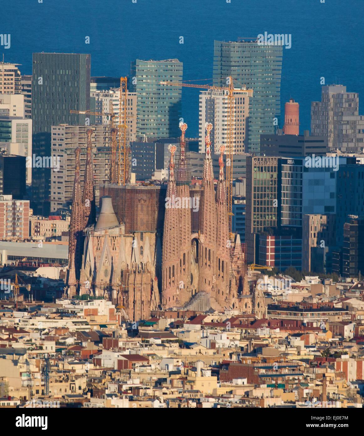 Barcelona, City, Cityscape, Sagrada Familia, church, Spain, Europe, aerial, agbar, architecture, Catalonia, fall, - Stock Image