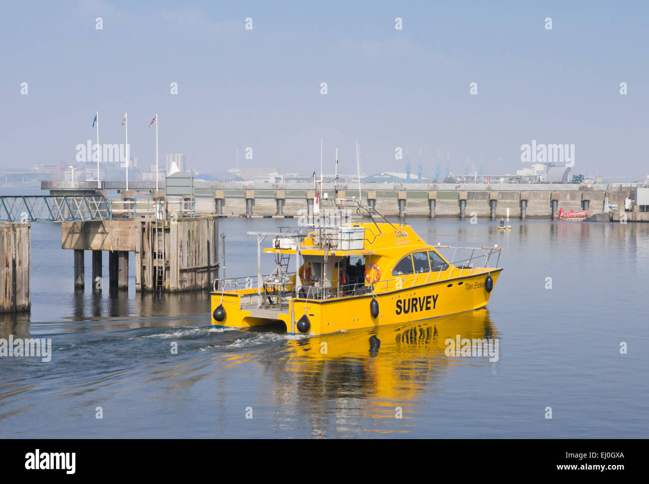MV Titan Endeavour a survey vessel for Titan Environmental surveys Ltd, Penarth Marina. - Stock Image