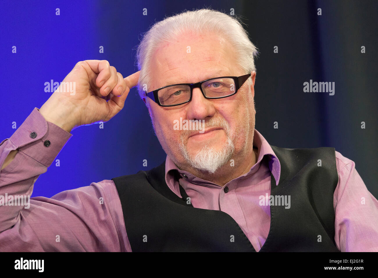 Walsall, West Midlands, UK. 20 March 2015. Dick Fiddy British Film Institute (BFI) writer and researcher at a recording - Stock Image