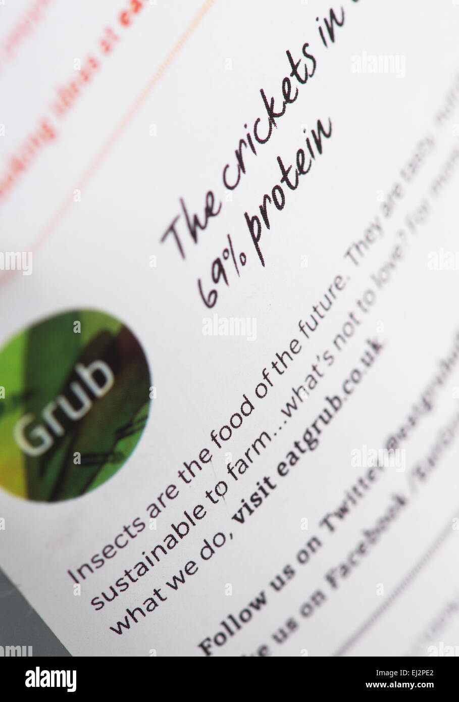 Edible insects. Cricket packet consumer information. Food of the future - Stock Image