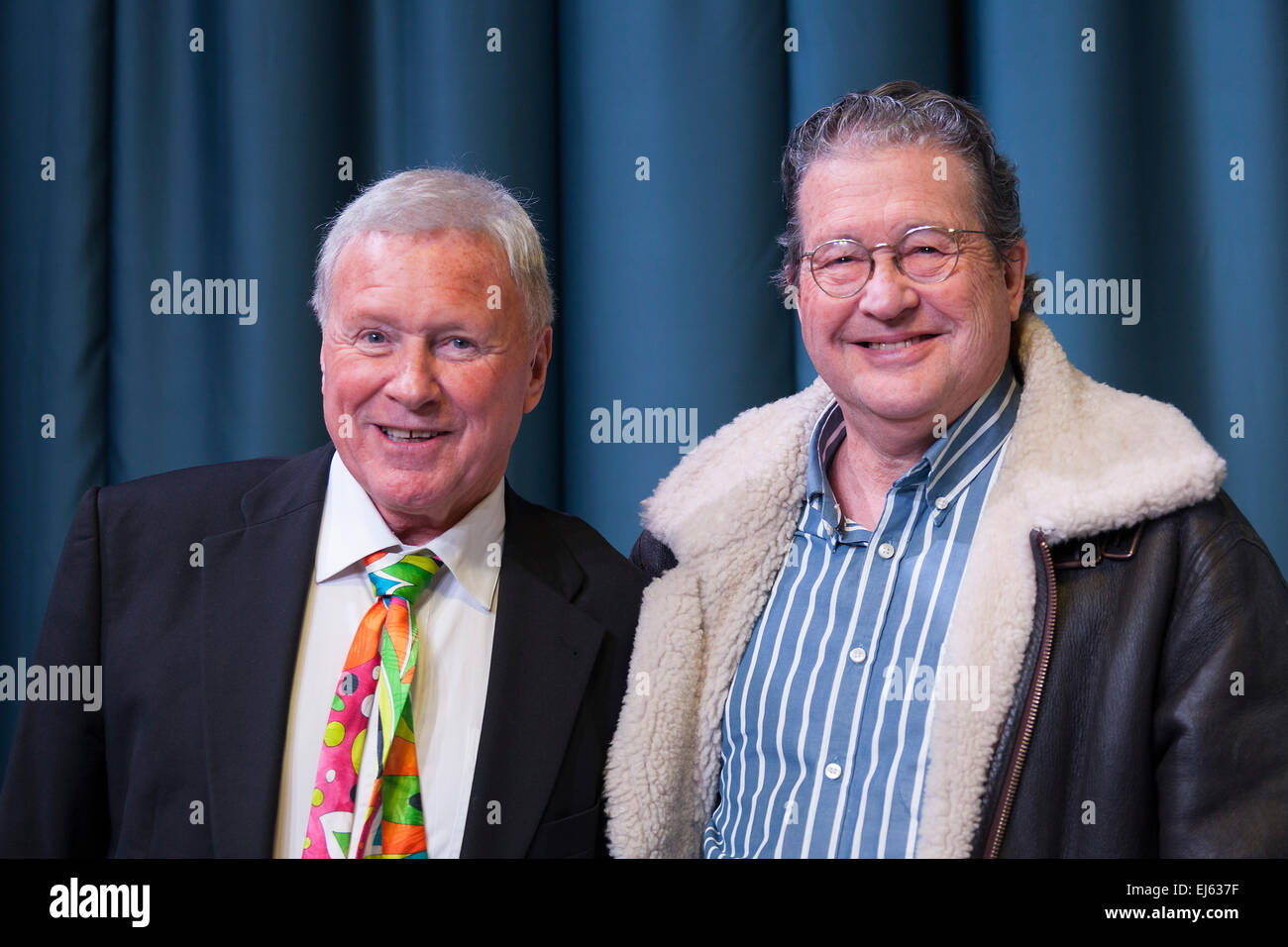 Walsall, West Midlands, UK. 22 March 2015. David Hamilton (L) with Clive Doig British television producer director - Stock Image