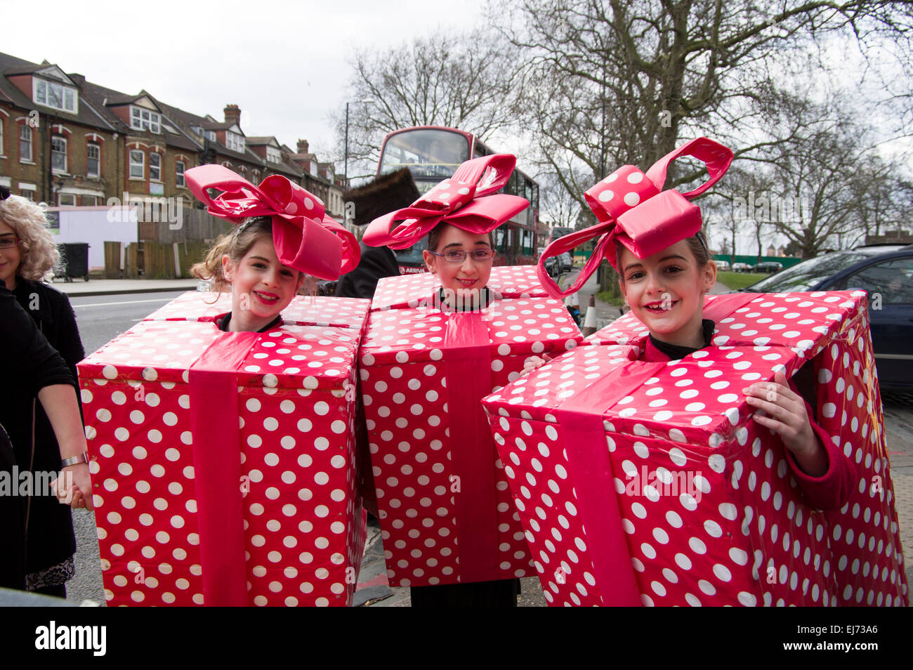 Three girls in homemade fancy dress costumes for the jewish holiday three girls in homemade fancy dress costumes for the jewish holiday of purim in stamford hill london 5 march 2015 solutioingenieria Images