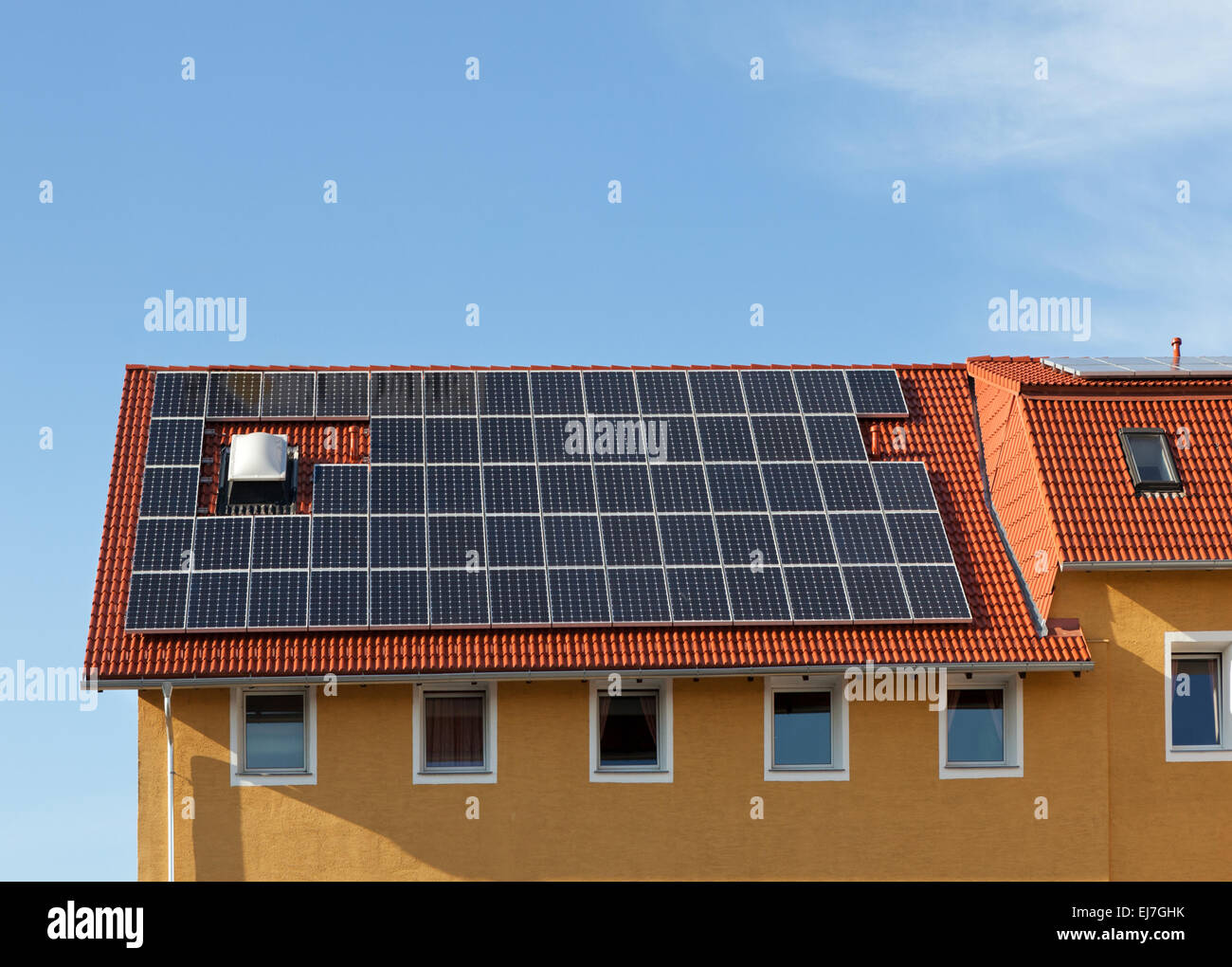 Solar panels on the roof - Stock Image