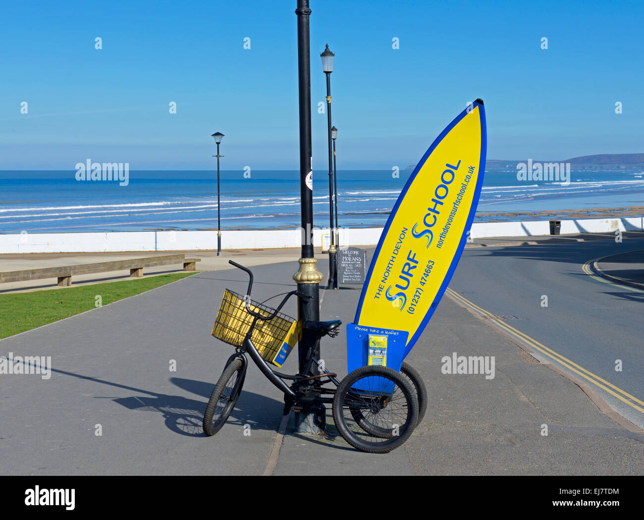 Sign for Surf School, Westward Ho!, Devon, England UK - Stock Image