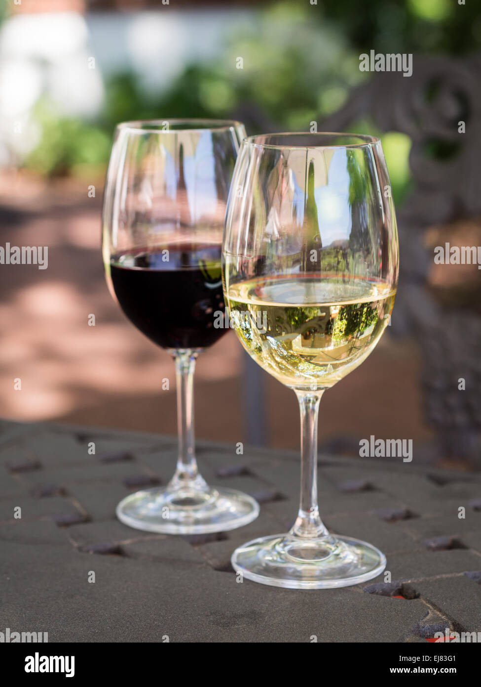 White and red South African wines in wine glasses on a garden table.Stock Photo