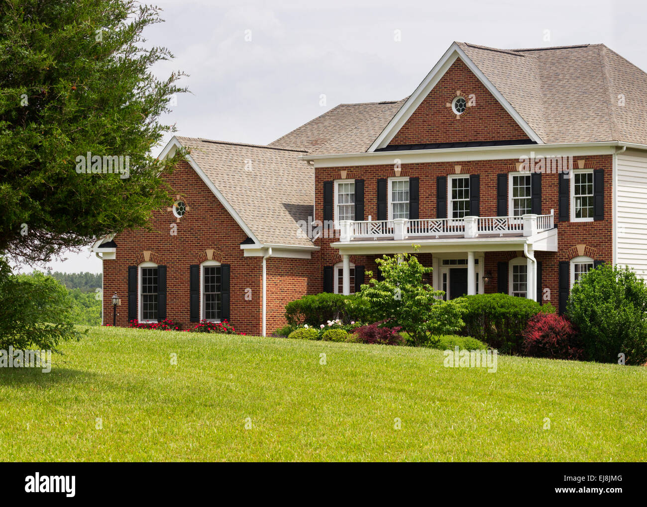Front elevation large single family home  Stock Image Exterior Elevation Luxury Home Photos