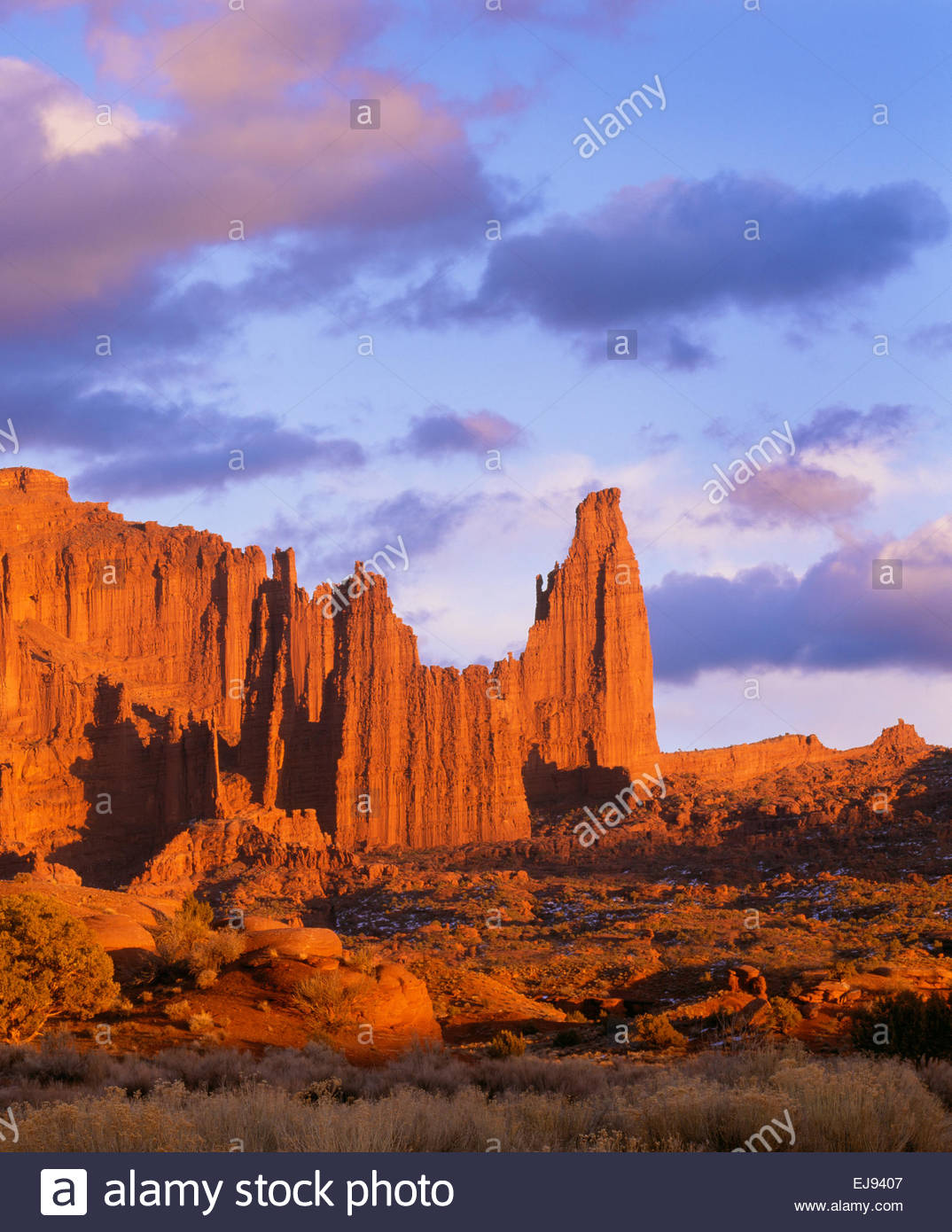 'Fisher Towers' at sunset  BLM  [Southeast Utah] - Stock Image