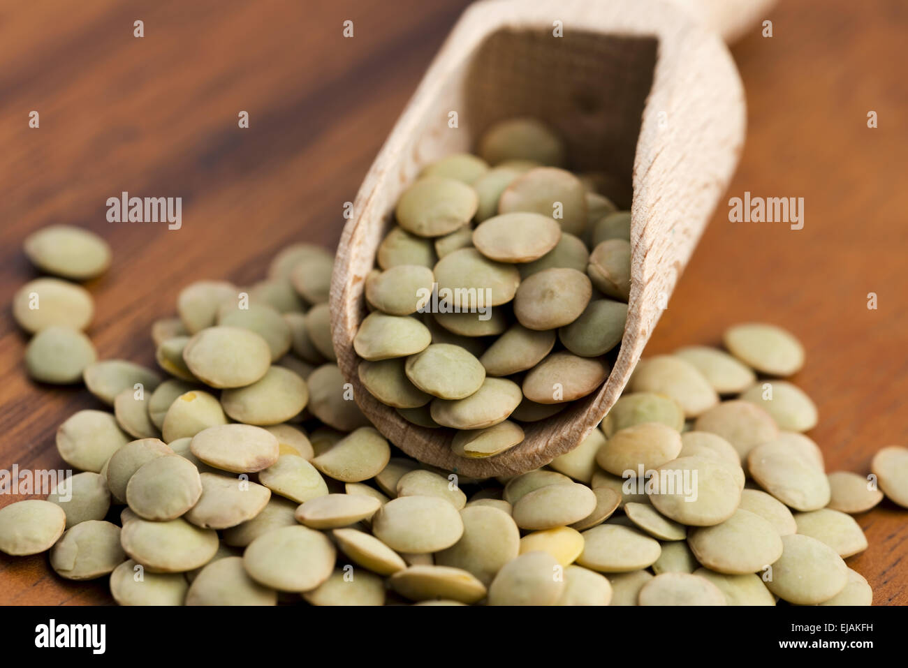 Dry Organic Green Lentils - Stock Image