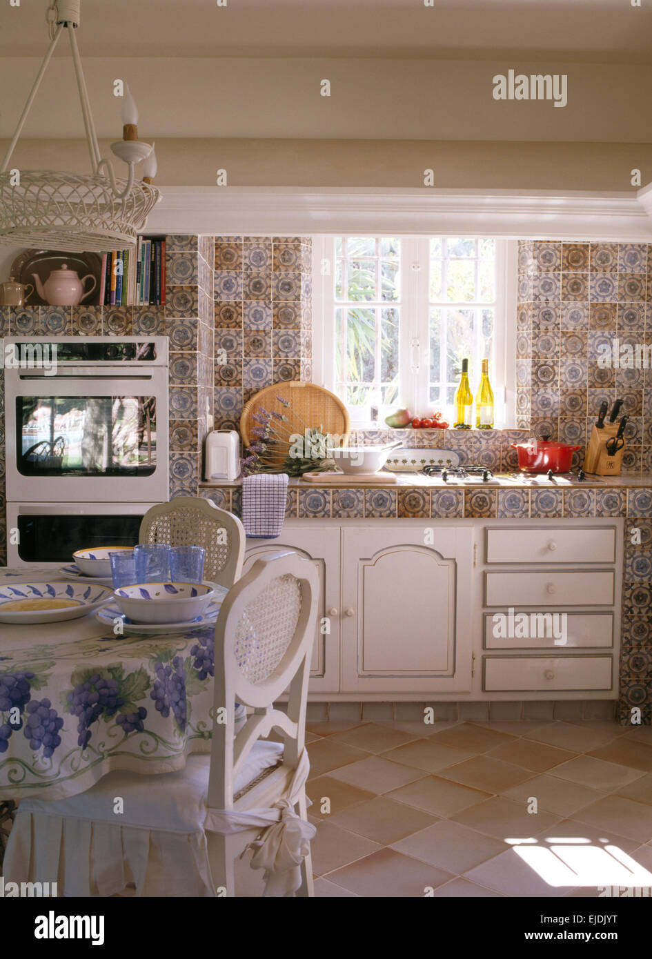 patterned kitchen wall tiles patterned wall tiles and worktop in country kitchen 4107