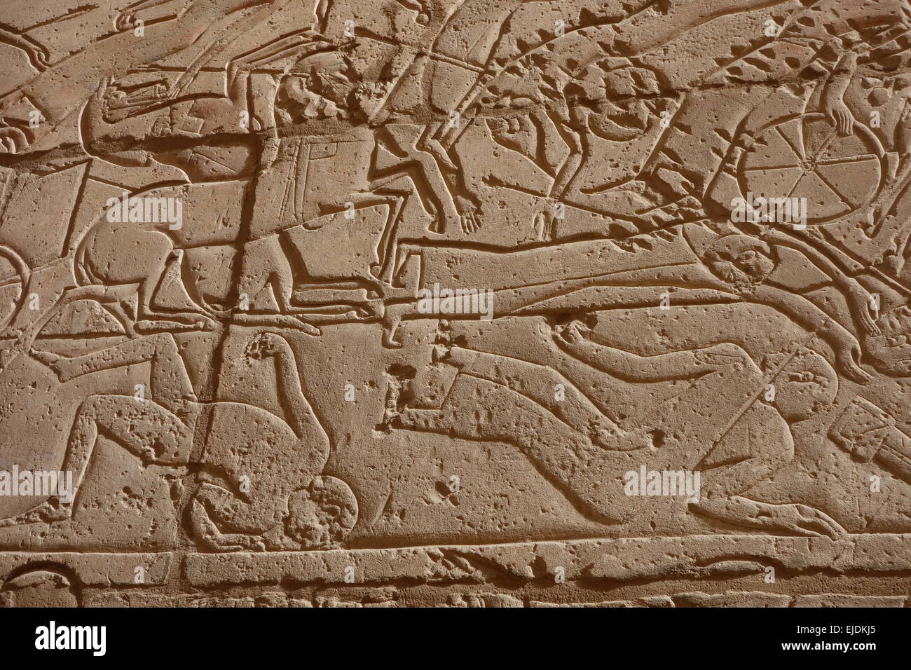 Egypt, Valley of the Kings area. Ramesseum temple showing violent battle rearing horses fallen warriors. Incised - Stock Image