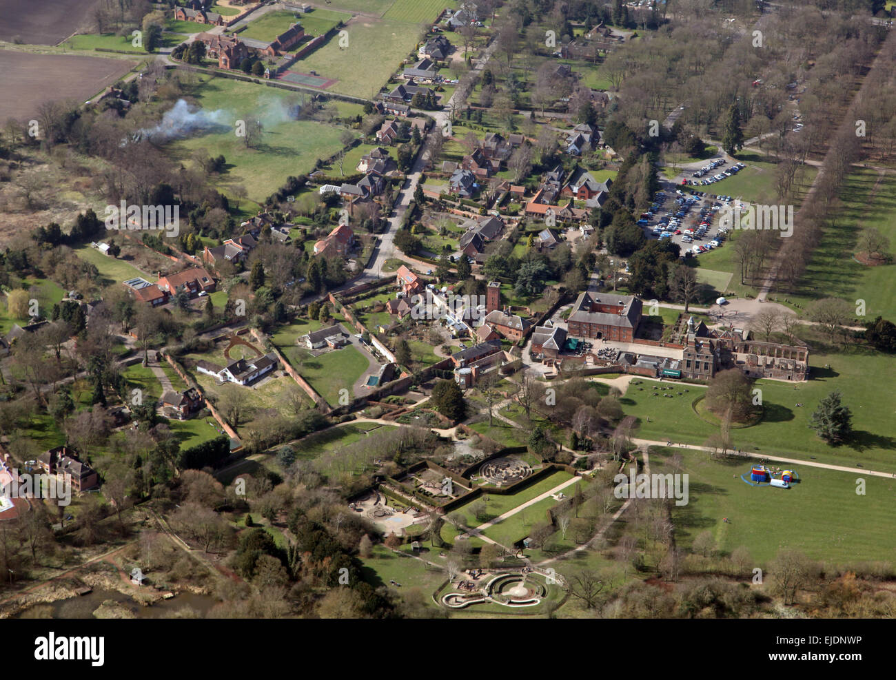 aerial view of Rufford village in Nottinghamshire, UK - Stock Image