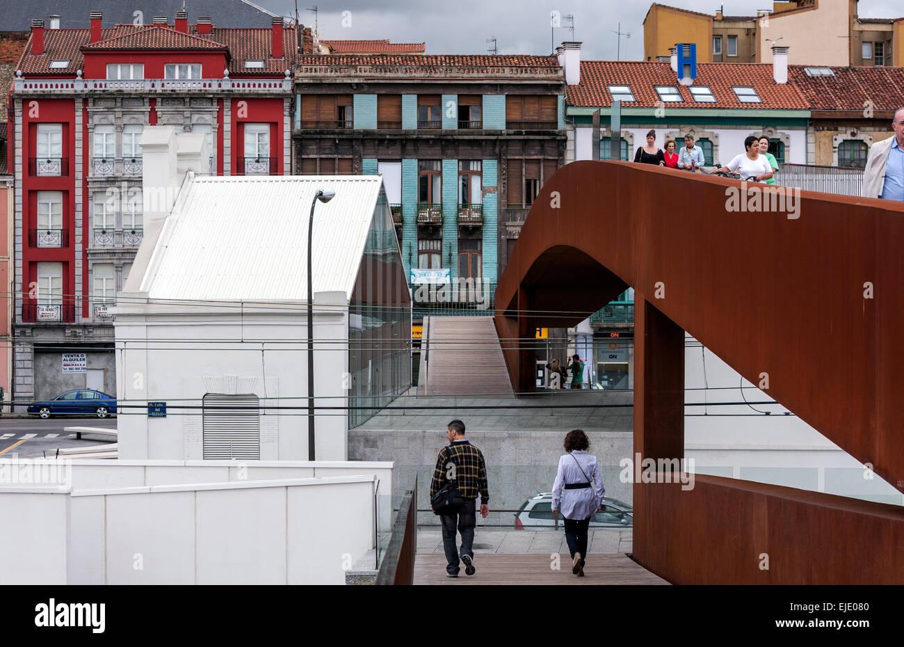Bridge oxide from The Oscar Niemeyer International Cultural Centre to Aviles city center, Asturias, Spain Stock Photo